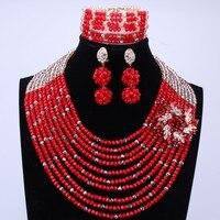 10 Couches Mariage Nigérian Perles Colliers Bijoux Set 2016 Africain Costume Rouge de Mélange Or Indien De Noël Perles Livraison Gratuite