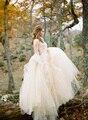 Macio Tule vestido de Baile Vestido de Casamento vestido de noiva 2017 Apliques de renda O Neck Vestido de Noiva Longos Vestidos de Casamento com cinto