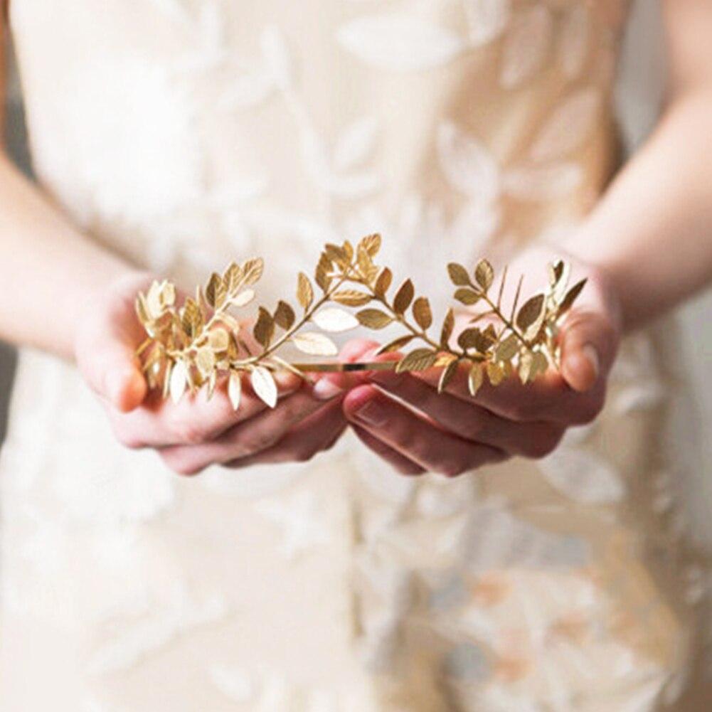 Wedding Women  Hoop Elegant Metal Leaves Shape Retro Bride Accessories Lightweight Ceremony Hairband Girls Laurel Crown