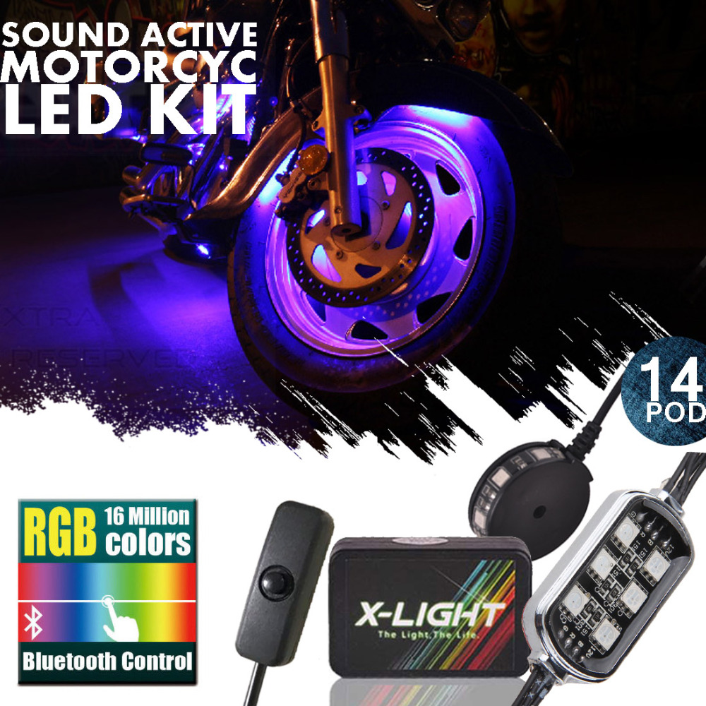 X-LIGHT BLUE TOOTH 14 POD 84 LED Universal Motorcycle Accent Neon Underglow Light Kit Smart Phone control