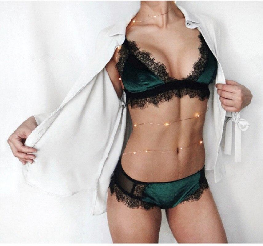 Women Sexy Lace Eyelash   Bra     Set   Push Up   Bra   Lingerie girls Lace Underwear   bra   Plus size Thin Wire Free   Bra   And Panties   Set   BS69