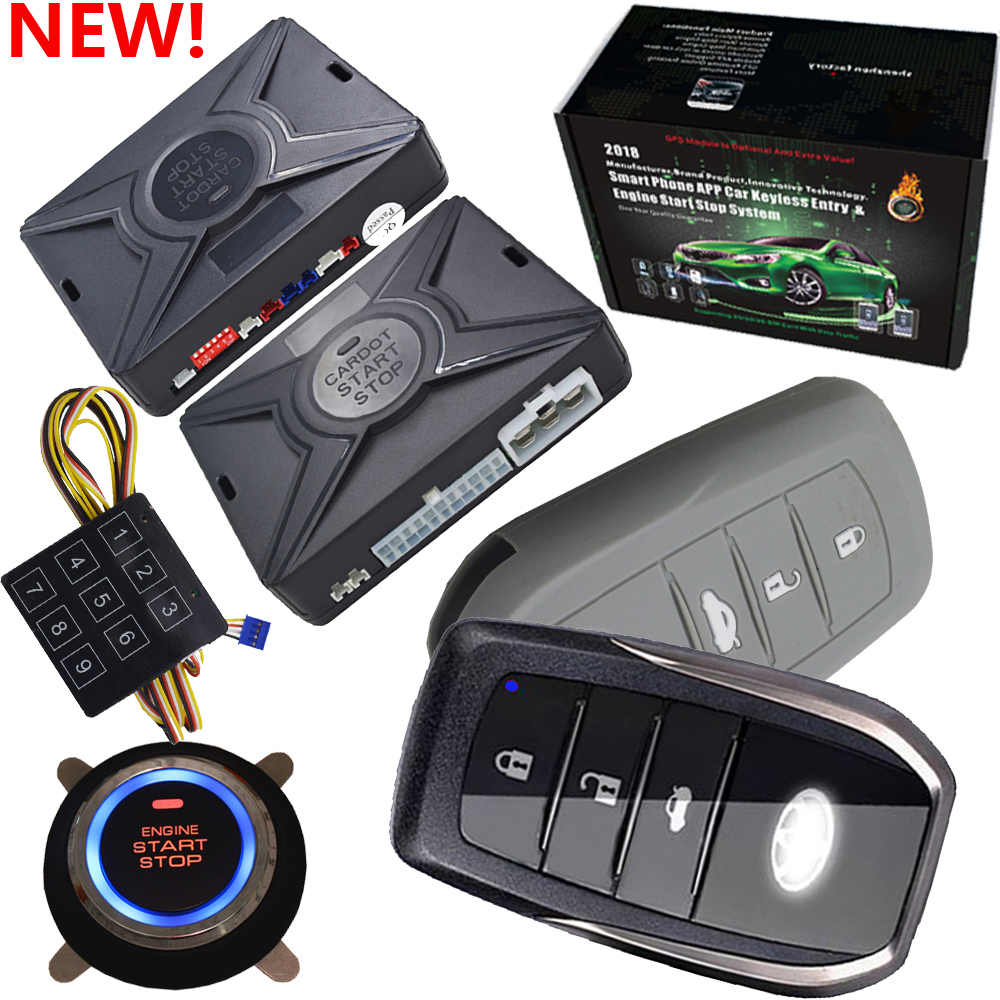 smart car alarm system with passivekeyless entry function auto start stop function shock sensor alarm and