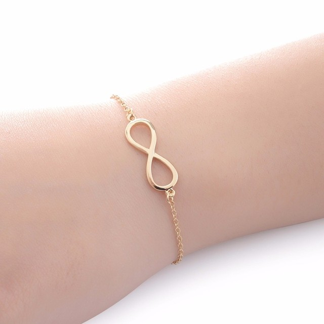 Infinity Rose Gold Color Charm Bracelets Women Bridesmaid Jewelry Stainless Stee