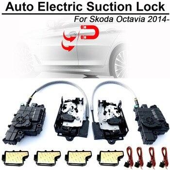 CARBAR スマートオートカー電動吸引ドアロックシュコダオクタための自動ソフトクローズスーパー沈黙自吸式ドア