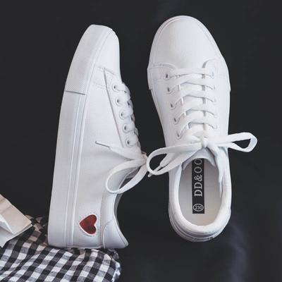 Automne Silver white Blanc 2018 Chaussures Mignon En Nouvelle Mode Appartements Red Sneakers Dames White Pu Respirant De Femme Cuir Décontractées Coeur fw14dq