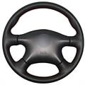 Negro de cuero artificial cubierta del volante del coche para nissan almera n16 pathfinder primera xtrail 2001-2006 renault samsung sm3