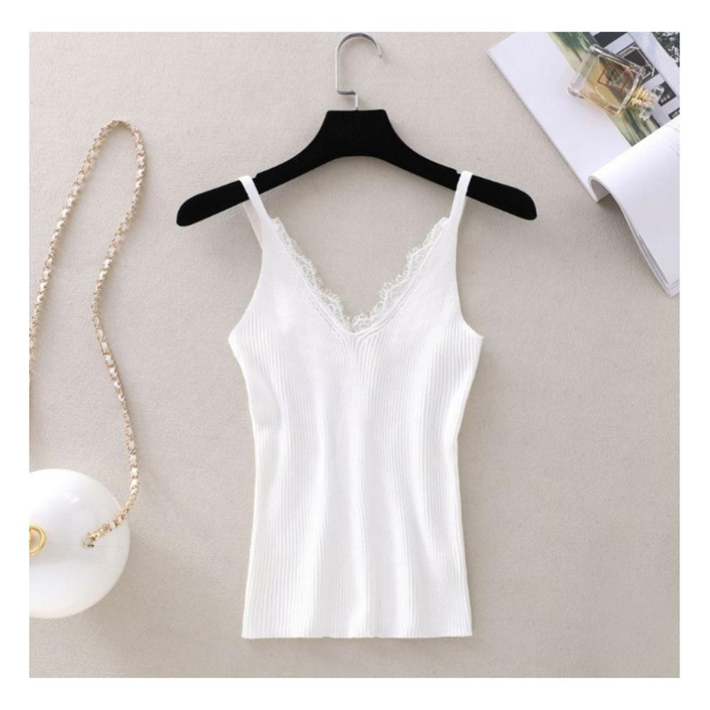 New Strap   Top   Women Halter V Neck Basic White Cami Sleeveless Lace   Tank     Tops   Women'S Summer Camisole