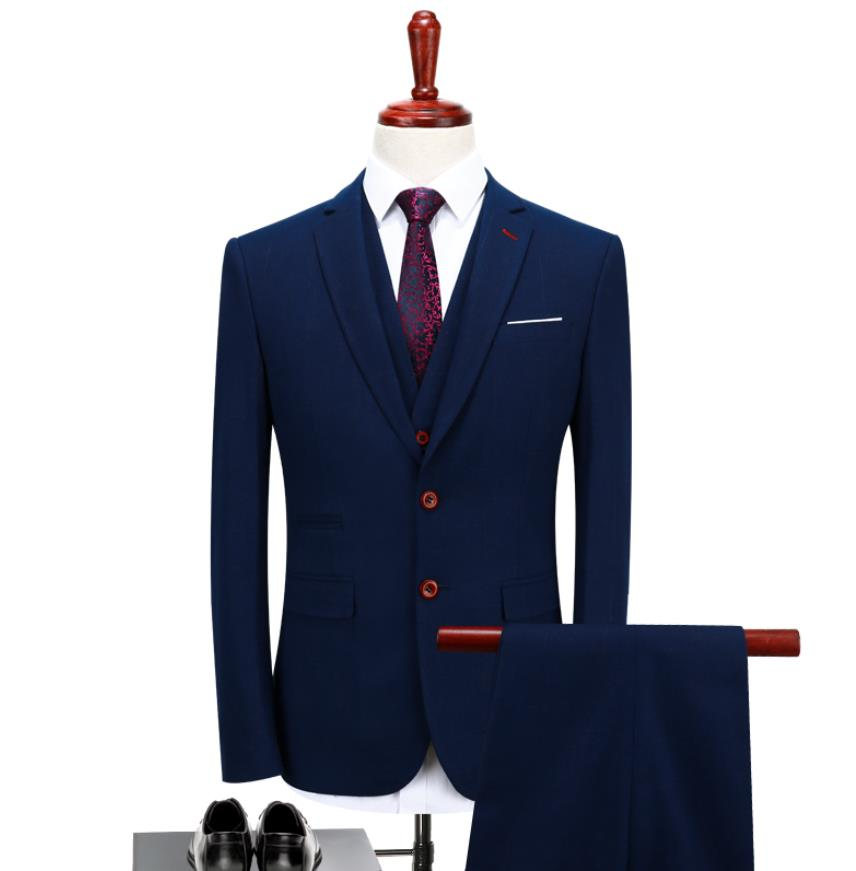 Suit Men High Quality Men Casual Business Tuxedo Blazers Men's Woolen Suits Wedding Dress(Jacket+Vest +Pants)costume Homme Terno