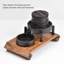 Creative Wooden Incense Burner Smoke Backflow Censer Wood Burner Furnace Living Room Coil Incense Holder Home Decor Sandalwood