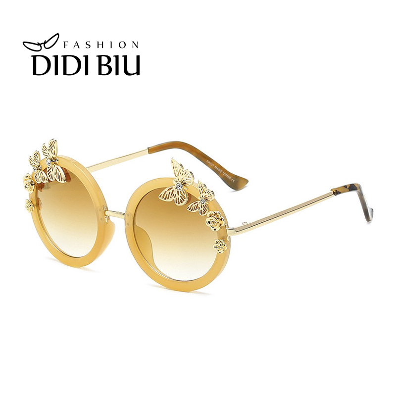 DIDI Top Grace Flower Sunglasses Women Luxury Brand Round Vintage Flat Lens Glasses Gold ...