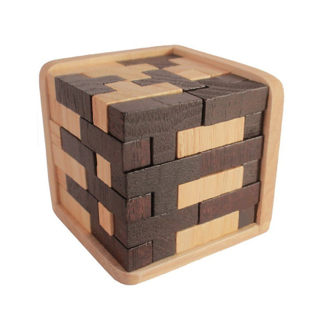 1XWooden Intelligence Game 3D Wood Jigsaw Puzzle Brain Teaser Magic Tetris  Cube 54 PCS Toy For Kid Building Blocks -in Magic Cubes from Toys & Hobbies  ...