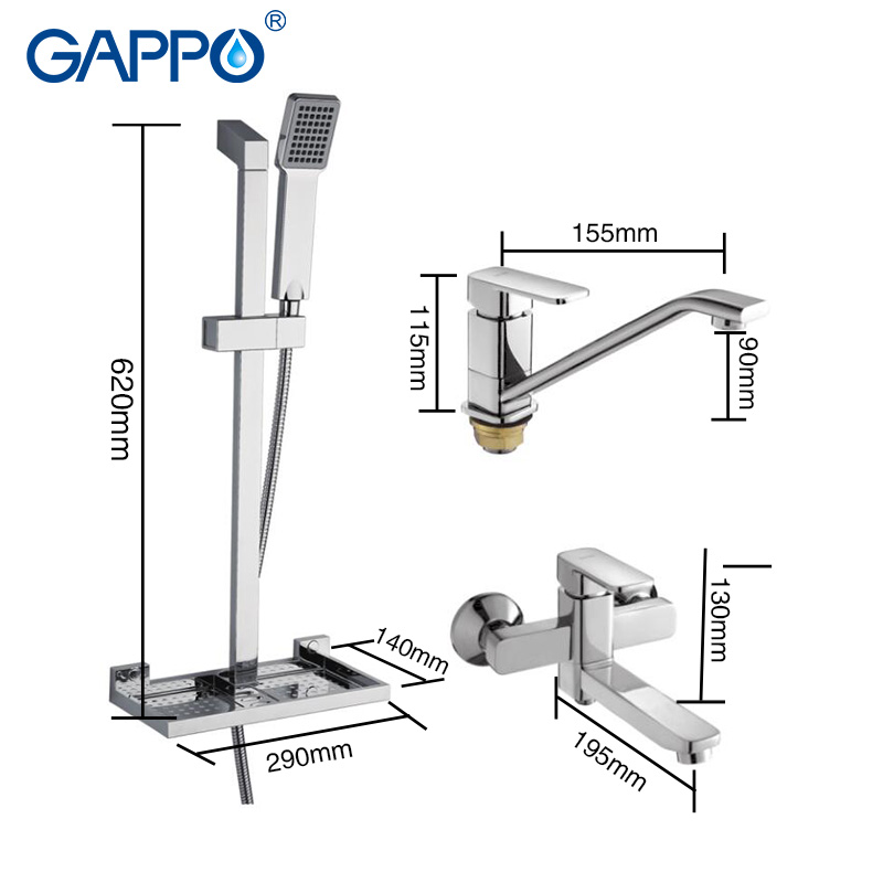 Gappo 1 Set Bathroom Combination Basin Faucet Shower Tap Single Handle Cold And Hot Water Mixer