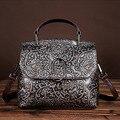Famosa Marca Genuína Mulheres De Couro Bolsas de Senhoras Ombro Ocasional Saco Crossbody Messenger Bags Tote Do Couro Do Vintage Em Relevo
