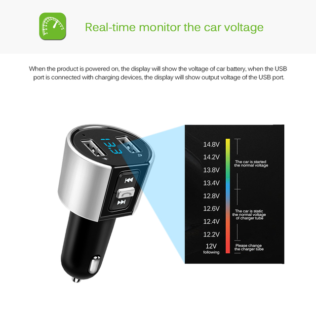 Wireless Bluetooth FM Transmitter MP3 Player Bluetooth Transmitter Radio FM Modulator with Dual USB Port Car Charger