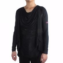 Good Quality Latin Dance Shirts For Males Black Sliver Cotton Shirt Wear For Men Ballroom Vestido