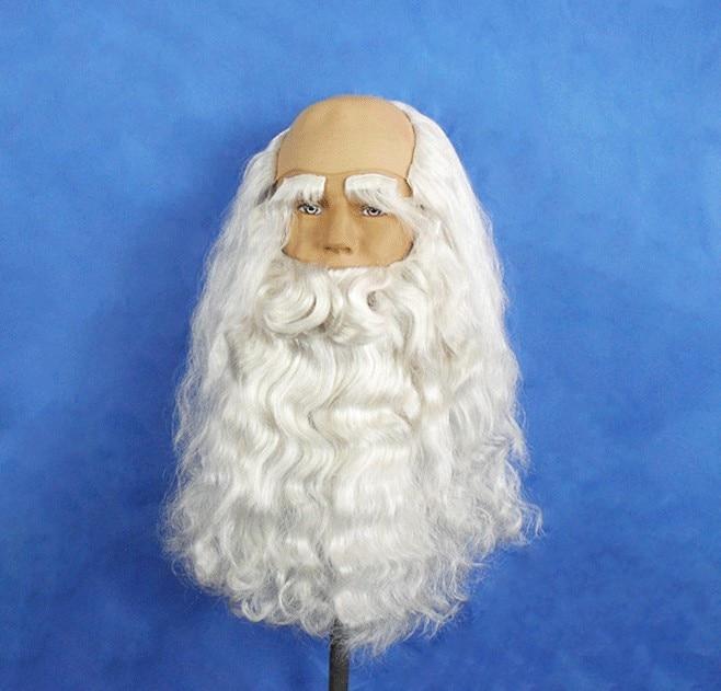 Free shipping,40cm length Christmas Santa Claus long white beard  Hair ornaments suit set  Moustache  headwear hat