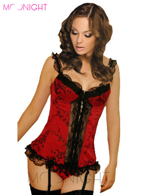 MOONIGHT Mulheres Espartilhos Sexy Lace Lingerie Shapers Para As Mulheres Vermelho Mulheres shapers corsets Bustiers Bodysuit shaper do corpo magro quente