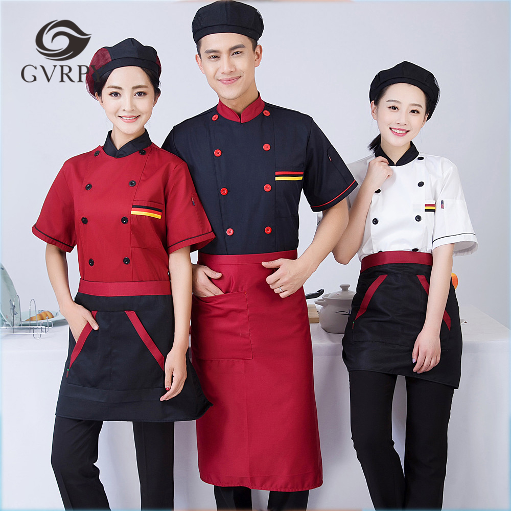 2018 New Arrival Unisex Short-sleeved Double Breasted Back Mesh Chef Uniforms Kitchen Restaurant Bakery Breathable Chef Jackets