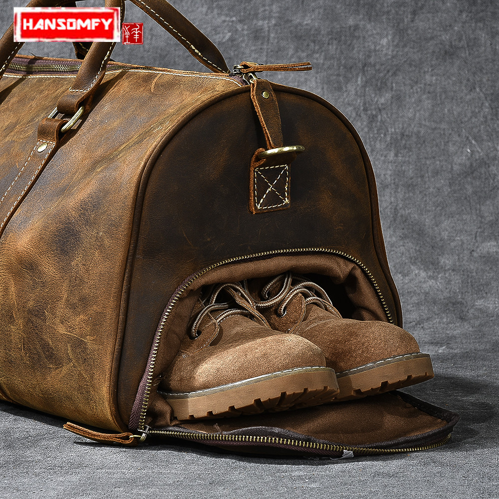Travel Bag Male Handbags Genuine Leather Shoulder Messenger Bag Shoe Bags Retro Large Capacity Men's Crazy Horse Leather Vintage