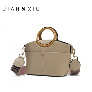Image 1 - JIANXIU Brand Women Pu Leather Handbag Round Portable Design Tote Bag 2019 Female Shoulder Messenger Bags Double Shoulder Straps