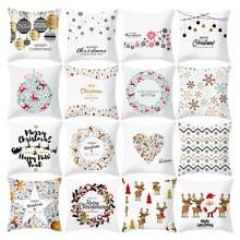купить 45x45cm Cotton Linen Merry Christmas Cover Cushion Christmas Decorations For Home Happy New Year Decor 2019 Navidad Xmas Gifts дешево