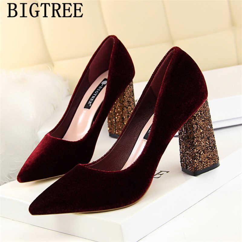 ערב נעלי עקבים עבים bigtree נעלי חתונה נצנצים עקבים שמלת נעלי נשים מותג משאבות פטיש גבוהה עקבים סקסי tacones mujer