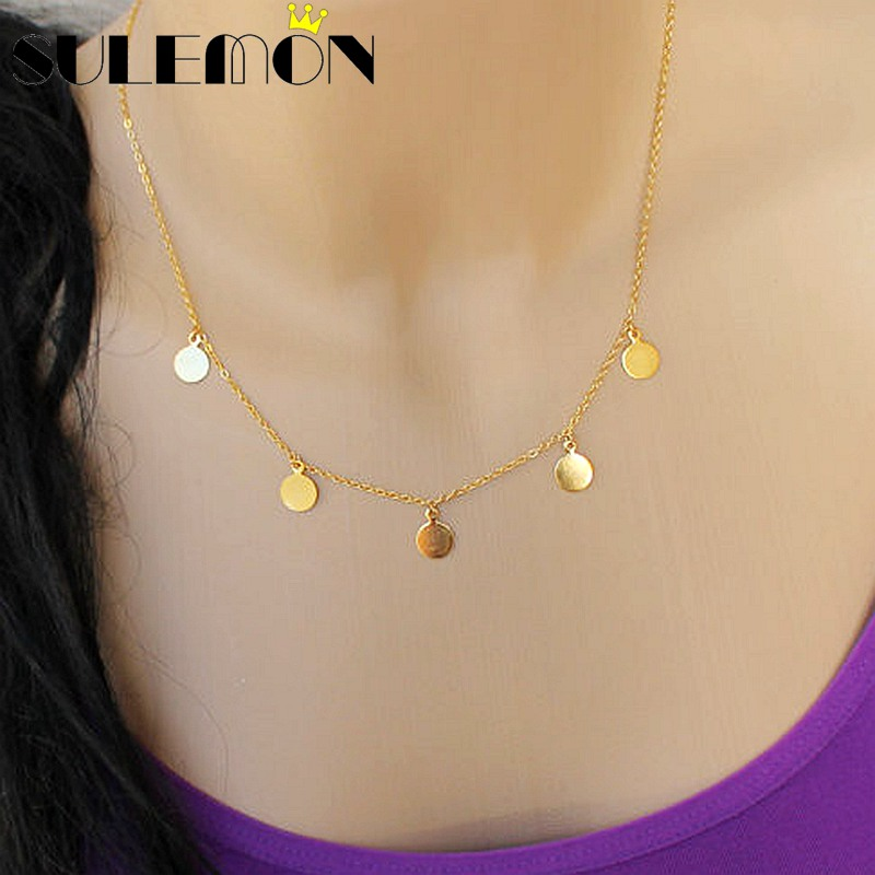 Aliexpress Com Buy Small Gold Coin Necklace Gold Filled