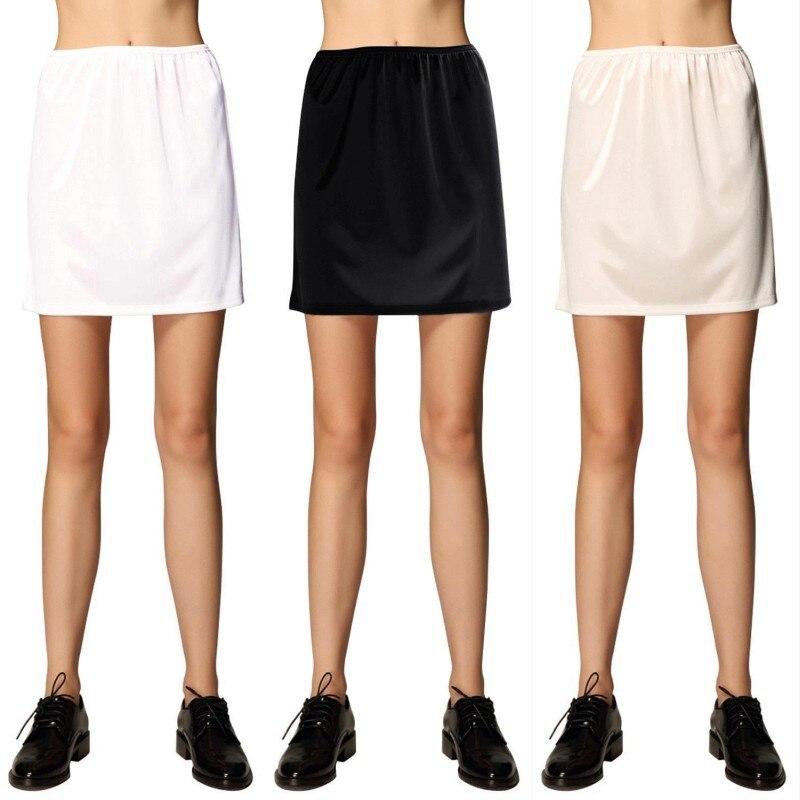 Woman Half Slips Modal Solid Skirt Petticoat Knee Length dress Lady Underskirts Vestidos Summer Cheap Skirts Underdress Summer(China)