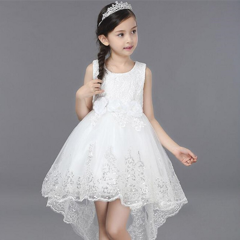 цена на White Flower Girl Dress Lace Party Wedding Princess Tulle 2018 Summer Kids Dresses Children Clothes Size 3-14 Pageant Sundress