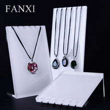 FANXI High Quality Acrylic Necklace Display Stand Set with 3 pcs White Silver Pendant Holder Jewelry Organizer Shelf Showcase