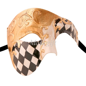 Лидер продаж черные туфли высокого качества красные, синие фиолетового и зеленого цветов, цвета: золотистый, серебристый Венецианская маска Halloween Пластик маскарадные маски - Цвет: black gold checked