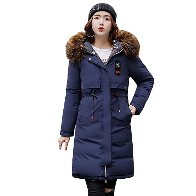 Hot sale 2018 Rushed Down   Parka   Women Jacket Long Solid Jacket Women's Winter New Big Collar Waist Coat