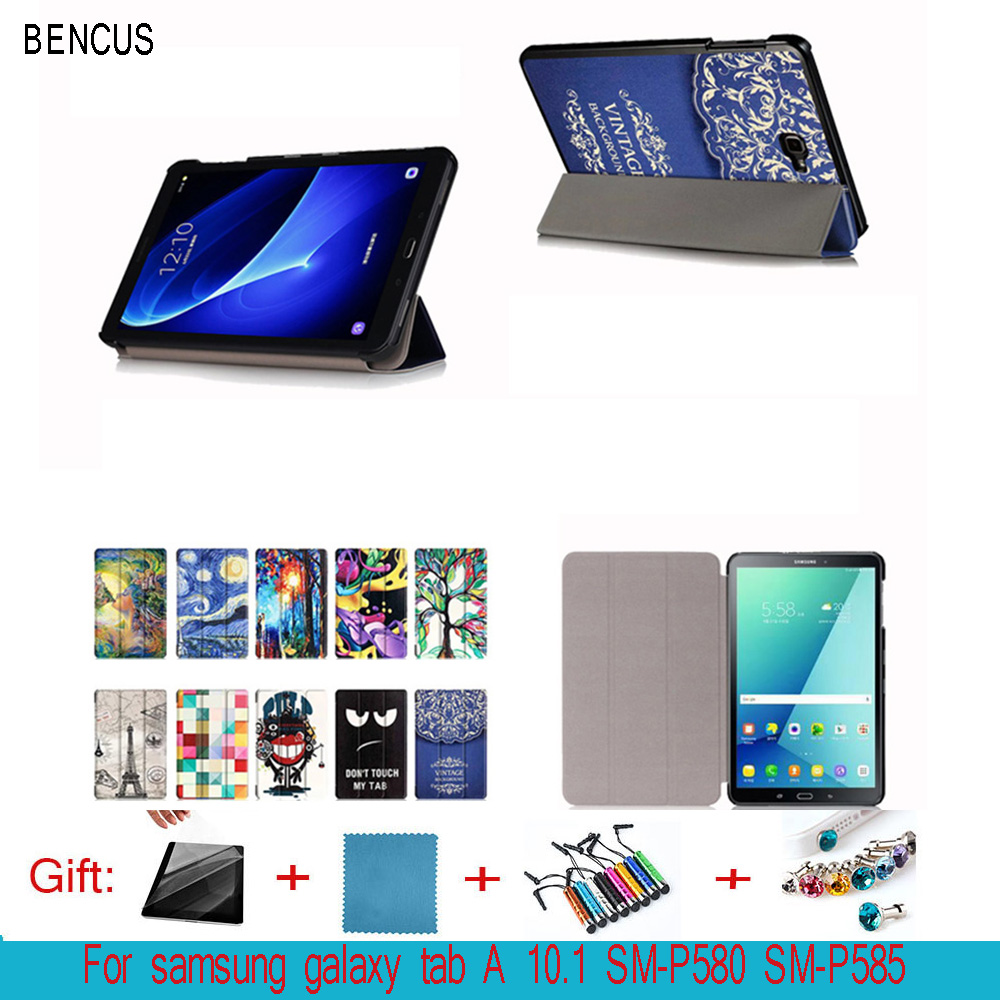 BENCUS case for Samsung galaxy Tab A P585 S-pen Leather Case folio Cover Samsung Galaxy Tab A 10.1 P580 Tablet PC+Screen film