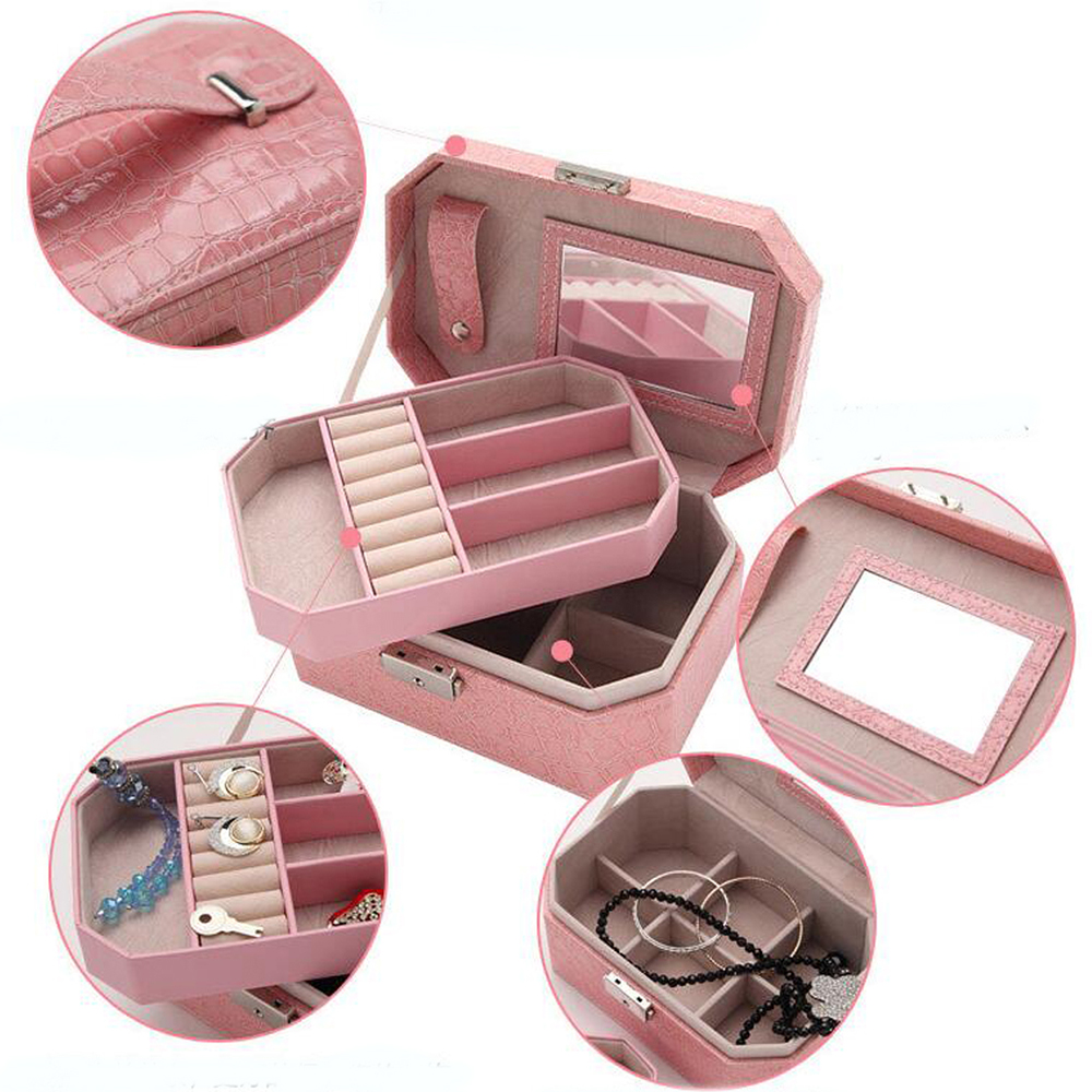 Traveling Mini Leather Jewelry Box Portable Cosmetic Makeup Organizer Earrings Ring Casket