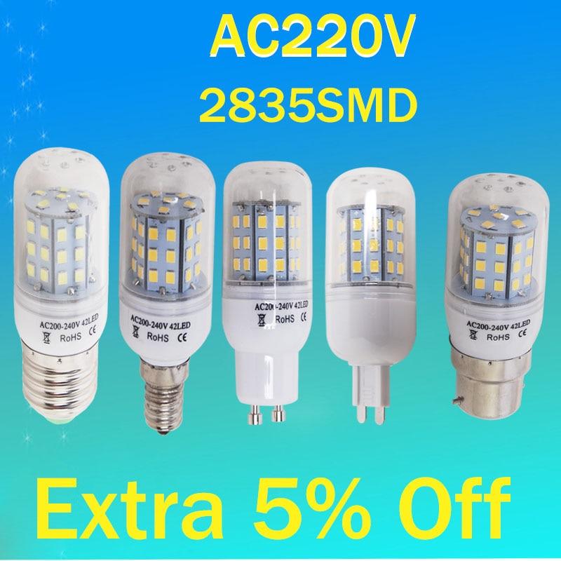 Gu10 E27 G9 B22 E14 Led Corn Bulb Smd 2835 Energy Saving 24leds 42leds 220v Lamp Lamparas Spot Light Home Chandelier Spotlight