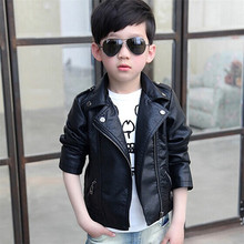 Kids Outwear 2016 Autumn Winter Girls Coats And Jackets Boys PU Leather Jacket Casual Turn-down Collar Solid Children Outerwear