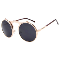 Hot Cool Steam Punk Round Colorful Models Retro Metal Double Layer Clamshell Outdoor Driving Sunglasses For