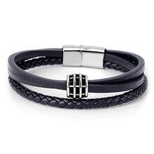 Trendy Genuine Multilayer Leather Bracelet Men Fashion Braided Handmade Rope Wrap Bracelets & Bangles Male Gift