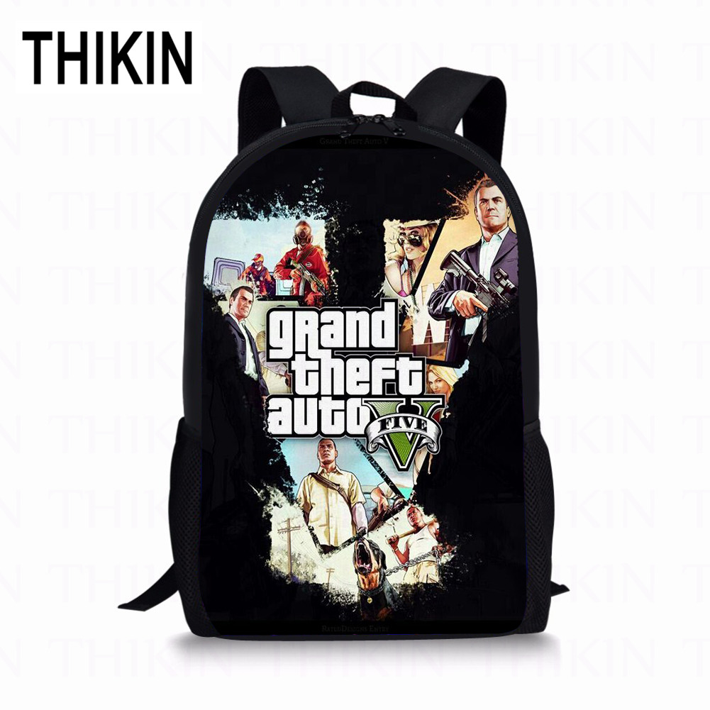 THIKIN 2019 Hot Fight GTA 5 School Bags For Boys Kids Backpack With Zipper Colorful Street Printing Preschool Children Book Bag