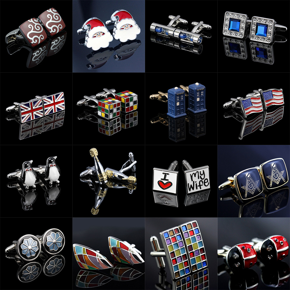 Free Shipping Trendy Colorfu Cufflinks 18 Styles Penguin/Cube/Hourglass/Flag/Santa Claus Luxury Cufflinks For Men Gemelos(China)