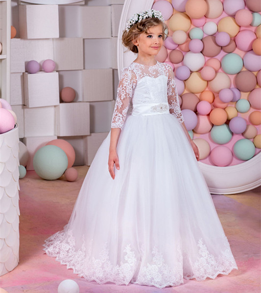 New White Flower Girls Dresses Long Sleeves O-Neck with Bow Belt Ball Gown Appliques First Communion Dresses Vestidos женское платье brand new 2015 wol o 4xl 5xl vestidos femininos pp00410 dresses page 2