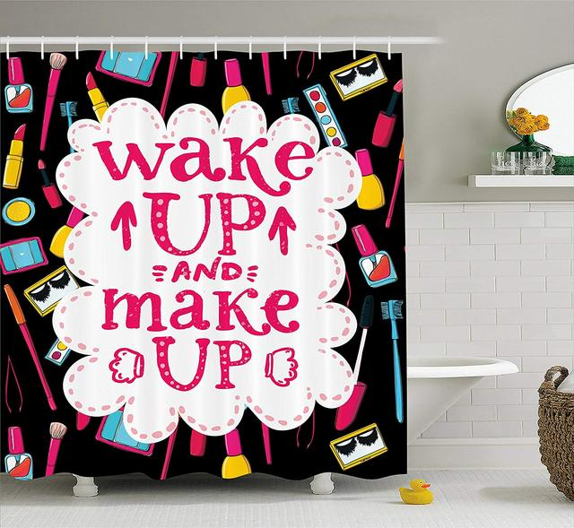Quote Shower Curtain Witty Saying Wake Up Make With Cosmetic Icons Lipstick Mascara And Nail Polish