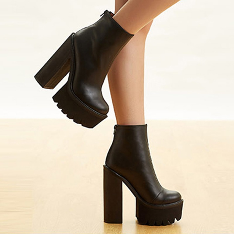 e07fd60233b Gullick Black Leather Ankle Boot Round Toe Chunky Heel Zipper Short Boot  Women Thick Platform Ridding Boots Sexy Motorcycle Boot-in Ankle Boots from  Shoes ...