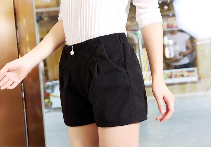 Frauen Frühlingsmodelle Frauen Woll Shorts Perle Reißverschluss - Damenbekleidung - Foto 6