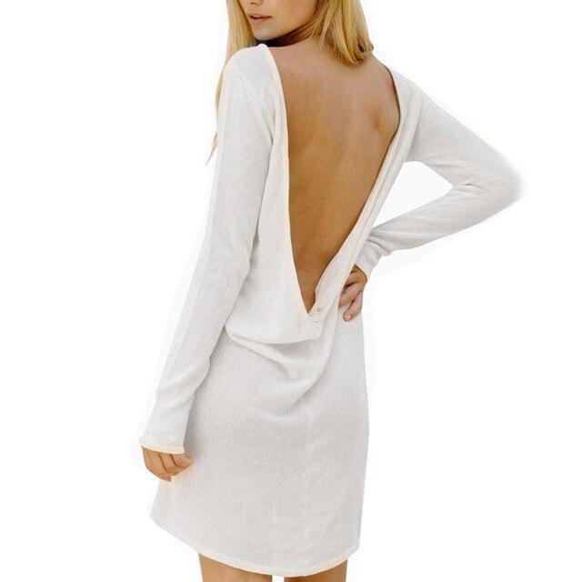 Bodycon Herbst Weiß Kleider frauen Mode Sexy Damen Langarm Halfter ...