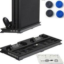 Aksesoris PS4 Pro Pendingin Kipas Pendingin Vertikal Berdiri Cradle Pengontrol Ganda Pengisian Dock USB Hub untuk Sony Playstation 4 Pro