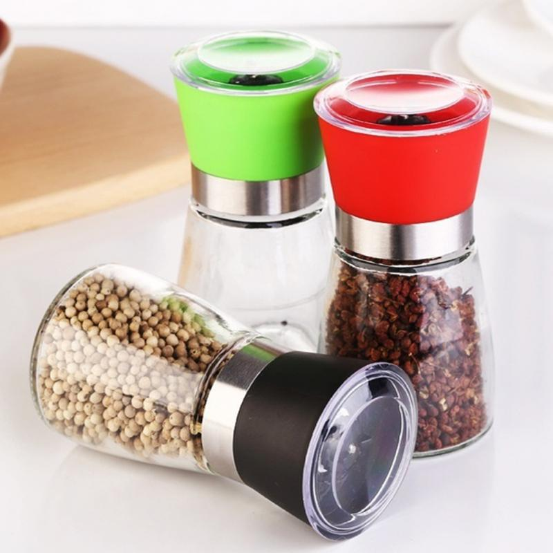 Glass salt and pepper mill grinder shaker spice