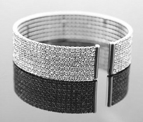 Wholesale Silver Plated Clear Crystal Rhinestone Bridal Wedding Bracelet / Bangles