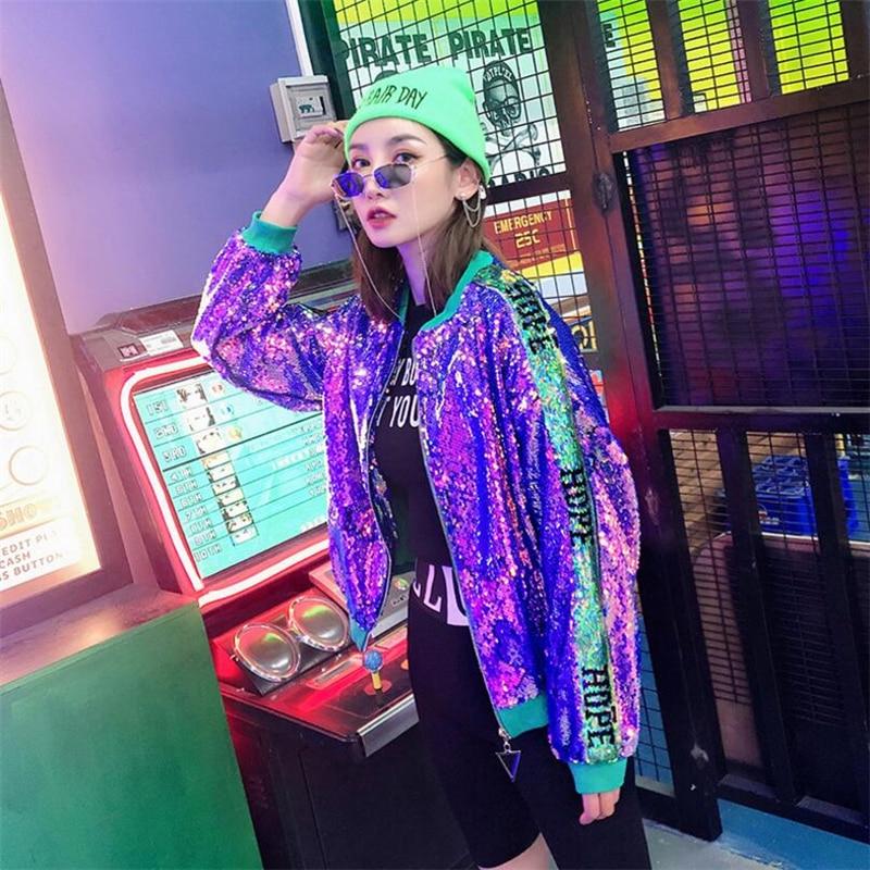 2019 Spring Letter Sequin Women Casual Bomber   Jackets   Women   Basic     Jacket   Zipper Contrast baseball Coat Fashion Female Outerwear