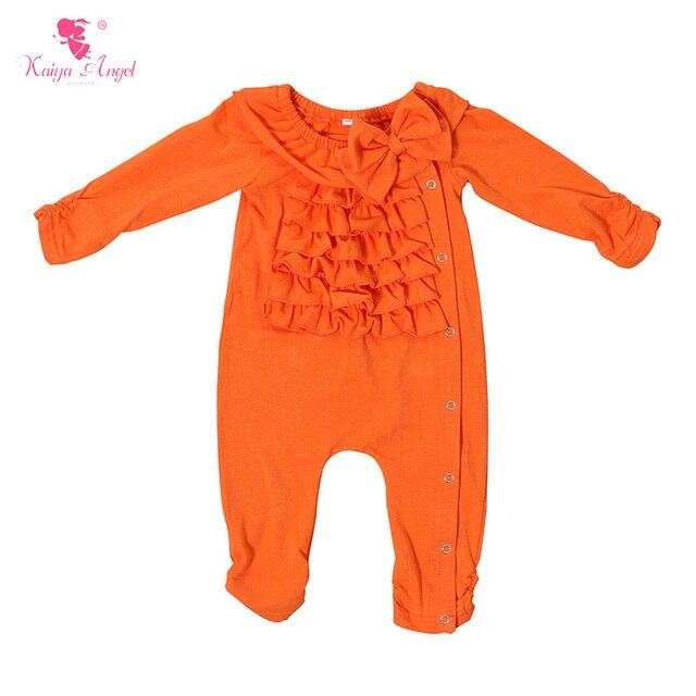 44ed2d95951c New Arrived Baby Girls Orange Cotton Romper Girls Ruffle Bow Jumpsuit  Autumn Spring Newborn 0-24 Months Long Sleeve